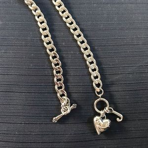 Juicy Couture Puff Heart & J Silver Necklace